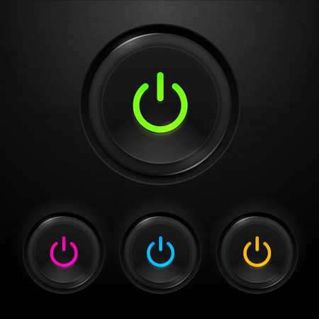 Power buttons in different colors vector illustration Illustration