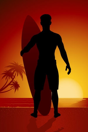 Surfer silhouette standing on summer beach in sunset vector illustration Illustration