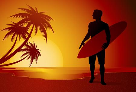 Surfer silhouette walking on summer beach in sunset vector illustration Illustration