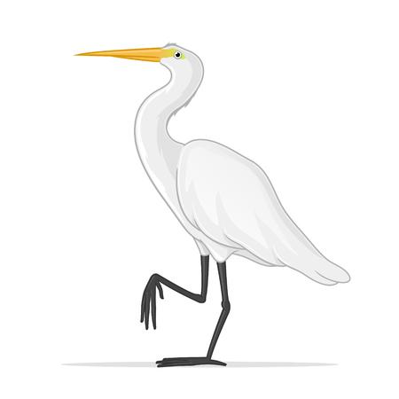 White egret bird cartoon illustration isolated on white
