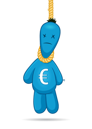 Euro puppet hanging on a rope vector cartoon illustration