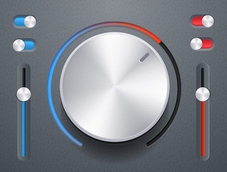 Audio knob with switches vector illustration