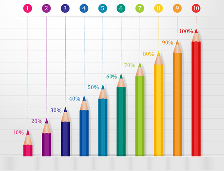 Infographics pencils in different colors with percentages