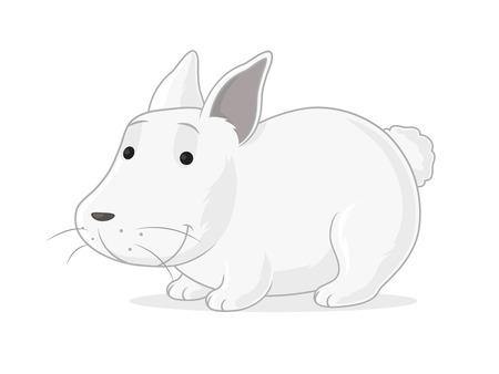 Happy white bunny vector cartoon illustration