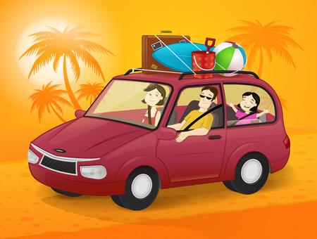 Gelukkige familie die op zomervakantie in een auto gaat