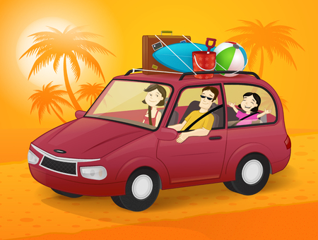 Happy family going on summer vacation in a car Illustration