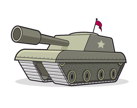 Battle tank cartoon illustration