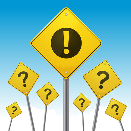 Road signs with question marks and exclamation point illustration