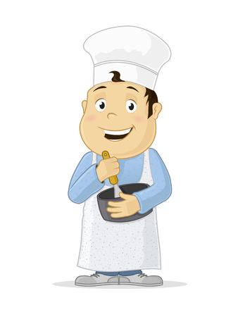 Little boy preparing food meal cartoon illustration