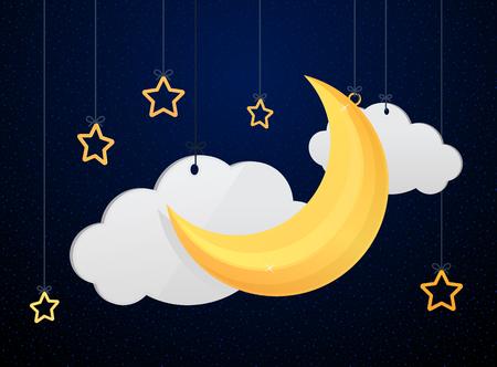 Moon and stars night  sky