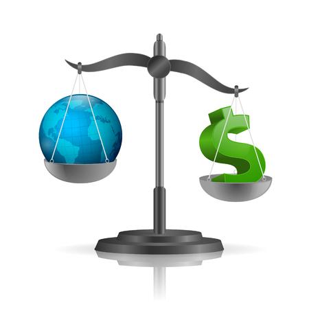 비늘, 글로브와 달러 기호 세계 부채 개념