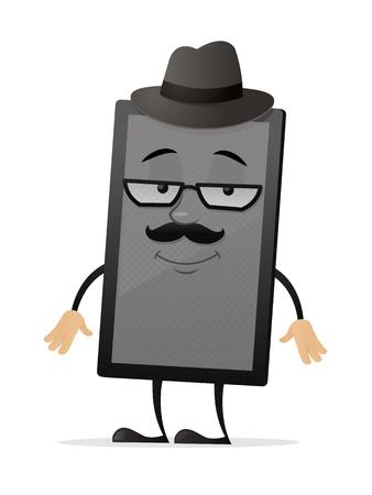 Hipster tablet vector cartoon mascot character