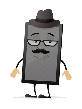 Hipster tablet vector cartoon mascot character