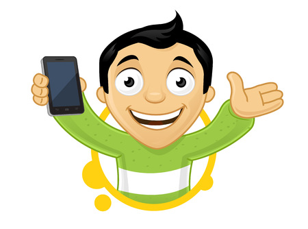 Happy young man with smartphone