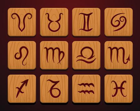 Zodiac sign icons set on wooden blocks vector illustration Illustration