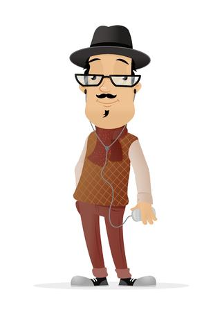 Hipster man vector cartoon illustration