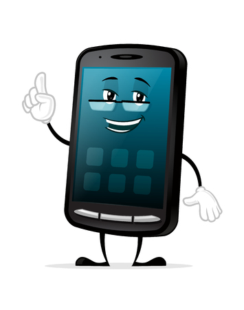 Smartphone Geek Mascot cartoon character vector illustration