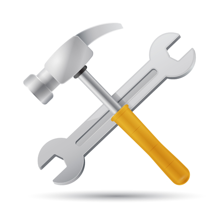 hammer and wrench tools icon illustration