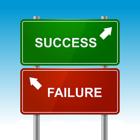 Road signs with success and failure text vector illustration