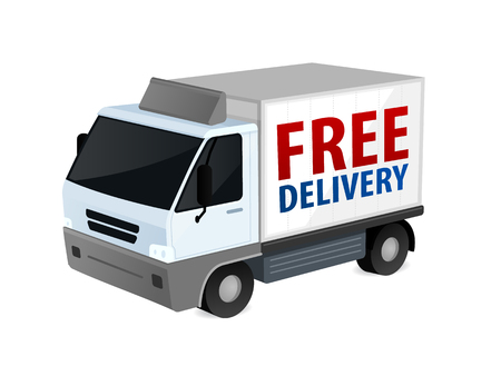 Delivery truck with free delivery text vector illustration