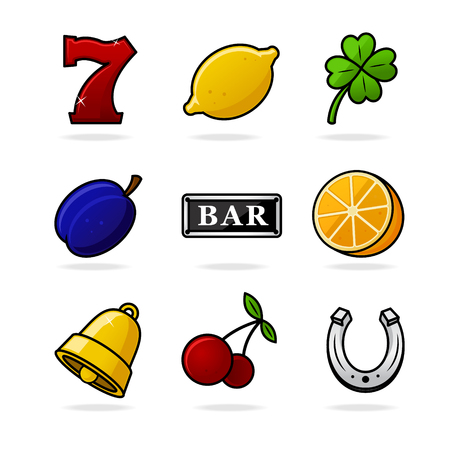Gambling slot icons vector illustration