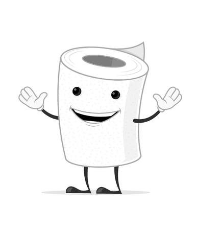 Toilet paper vector cartoon mascot character