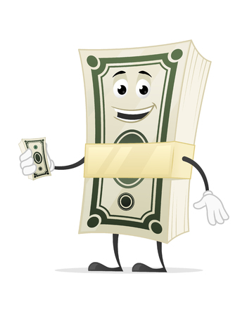 Dollar money stack cartoon mascot character