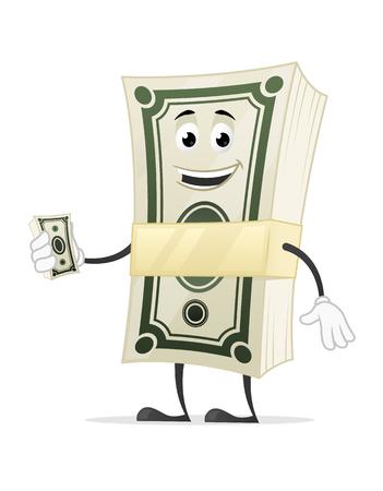 Dollar money stack cartoon mascot character
