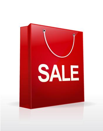 판매 단어 벡터 일러스트와 함께 쇼핑 가방