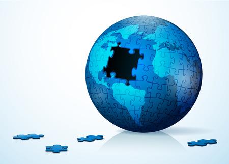Globe puzzle vector illustration
