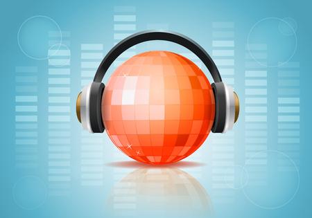 Disco ball com fones de ouvido no fundo Ilustración de vector