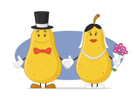 Pear wedding couple vector illustration