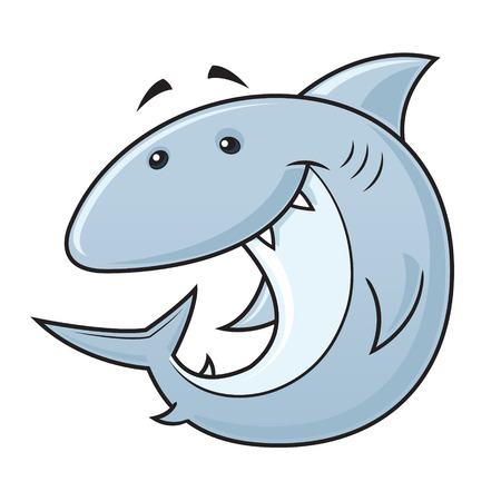Happy shark cartoon character vector illustration Stock Illustratie