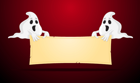 Spooky ghosts holidng blank sign vector cartoon illustration