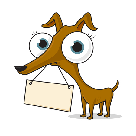 Ugly chihuahua dog with blank sign vector cartoon illustration Stock Illustratie