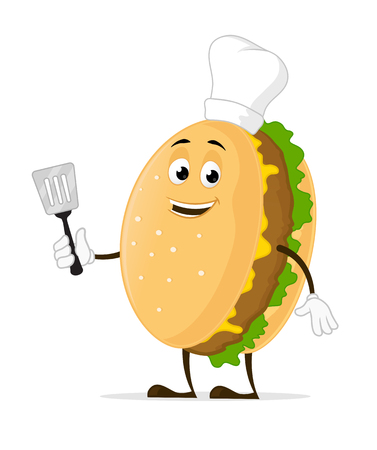 Cheeseburger chef cartoon mascot character Stock Illustratie