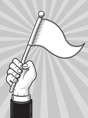 Hand raising white flag vintage drawing vector illustration