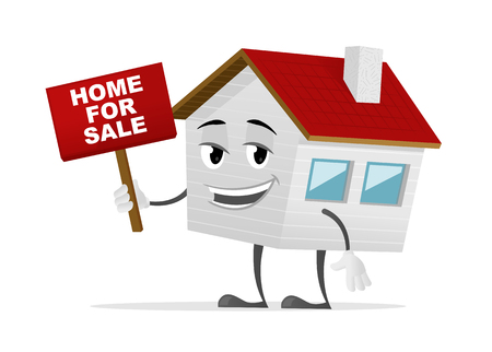 Home for sale vector cartoon illustration Stock Illustratie