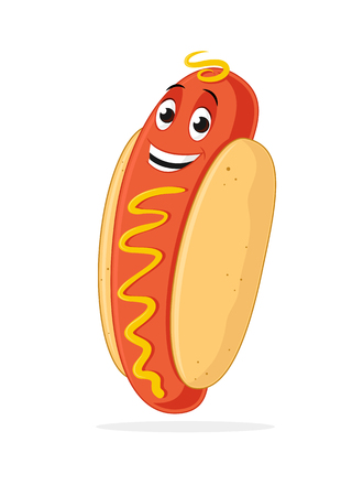 Hot dog cartoon mascot character