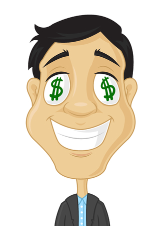 Businessman with dollars in eyes vector cartoon illustration Stock Illustratie