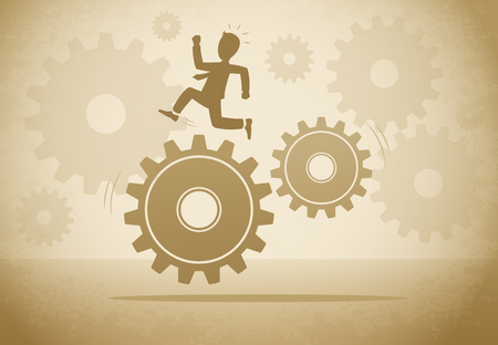 Businessman running on gears concept vintage vector illustration