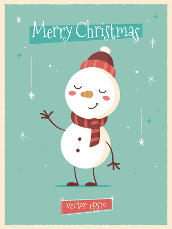 Vintage mid century style retro poster with cute snowman vector cartoon illustration