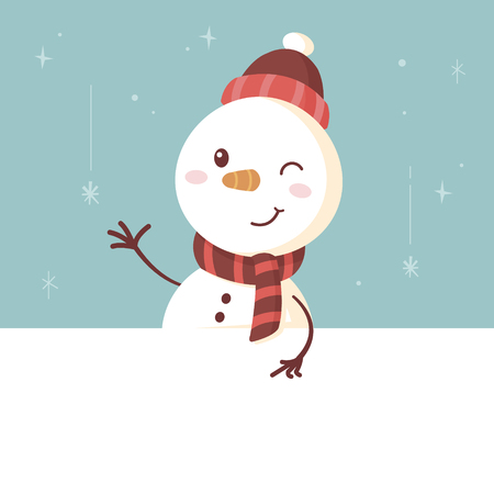 Cute snowman standing behind the white banner and showing something with finger vintage retro vector cartoon illustration