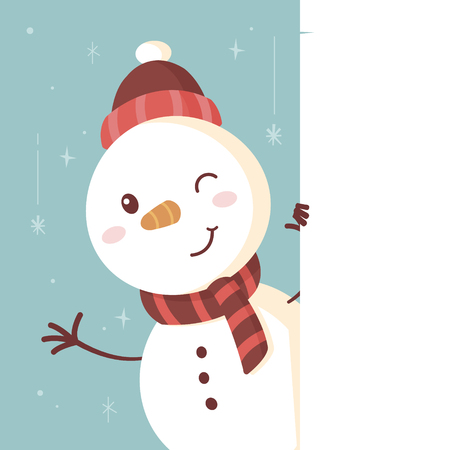 Cute snowman standing behind the white banner vintage retro vector cartoon illustration