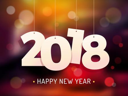카드와 전단지 벡터 일러스트 레이 션에 대 한 행복 한 새 해 2018 배경 디자인