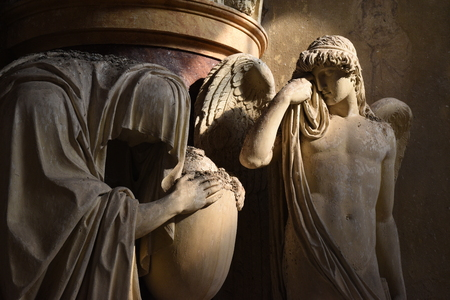 Sculpture in the monumental cemetery of the Certosa di Bologna Stock Photo