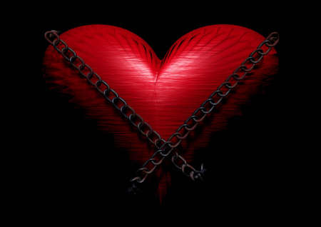 kinky: 3d image of loveheart against black background