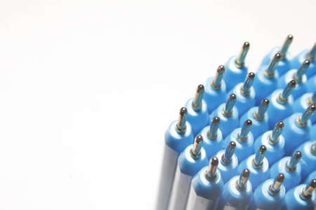 biro: image of blue biro pens against white background