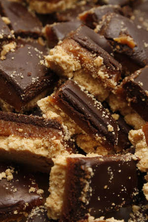 calorific: image of chopped up millionaires caramel shortbread Stock Photo
