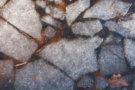 thawed: The pieces of ice float in water. Abstraction.